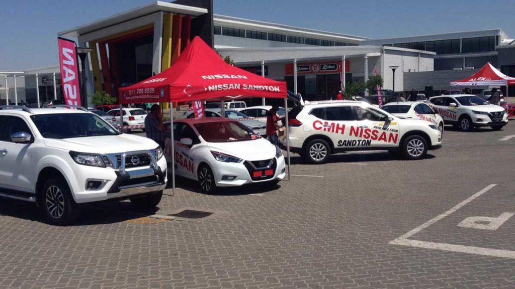 CMH Nissan Sandton- Alex mall display, nissan new vehicles