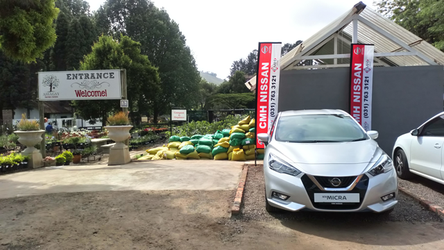 NISSAN MICRA DISPLAY AT ASSAGAY GARDEN CENTRE